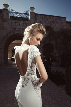 2014 New Arrive Noble White/Ivory Lace Backless Mermaid Wedding Dresses Custom Size Wedding Gowns US $159.00