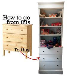 IKEA Tarva Hack – I've been getting a lot of people asking for instructions on how I hacked the Ikea Tarva dresser for E's room. Basically I built bookcases to go on top of the dressers (I made two) and they flank either side of her bed. I made the bookcases out of mdf and joined the pieces together with my kreg jig. Then added trim – the same trim I put around all the windows and doors in...