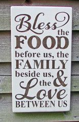 This primitive rustic kitchen sign, works great with your Primitive home decor, rustic home decor, and country decor. This sign is made of wood and hand painted to give a primitive rustic look bless t