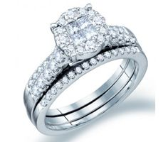 Diamond Engagement Ring Bridal Set Wedding Band 14k White Gold (1 CT) #Diamond #wedding #Bridal #Ring #fashion #Jewelry #White jeweltie.com