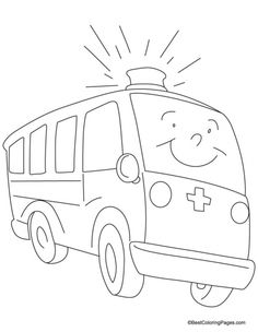 A Fast Moving Ambulance Coloring Page