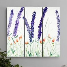 Lavender Fields Sumie style watercolor painting by RMScottStudio, $350.00 LIMITED to 5 Canvas Prints.