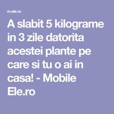 A slabit 5 kilograme in 3 zile datorita acestei plante pe care si tu o ai in casa! - Mobile Ele.ro Portal, Paramore, Holiday Parties, Good To Know, Health And Beauty, The Cure, Food And Drink, Lose Weight, Health Fitness