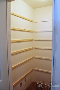 How to Build Pantry Shelving – The Craft Patch Learn how to build strong and sturdy pantry shelving (or walk-in closet shelving) with this detailed tutorial. - Pantry With One Redo Diy Shelves, Corner Pantry, Closet Shelves, Built In Pantry, Diy Pantry Shelves, Shelves, Closet Built Ins, Pantry Renovation, Shelving
