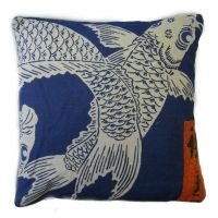 Blue & White Japanese Koi Square Pillow