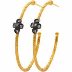 Sara Weinstock Diamond Four-Petal Open Hoop Earrings at Barneys.com