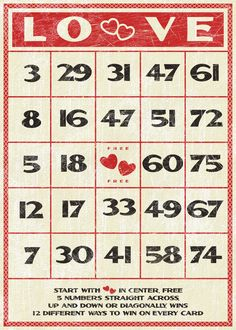 Cute vintage inspired Valentine's Day bingo card printable... link to print this:    http://www.flickr.com/photos/tonyadoughty/3218803934/