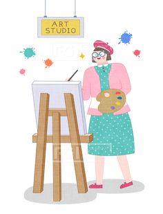SPAI146, 프리진, 일러스트, 에프지아이, 직업, 직업군, 사람, 캐릭터, 일러스트, 비즈니스, 웃음, 미소, 행복, 손짓, 심플, 재밋는, 꿈, 장래희망, 장래, 희망, 교육, 그림, 미술, 예체능, 캔버스, 붓, 컬러, 색, 물감, 아트, 스튜디오, 아트스튜디오, 미술가, 예술가, 안경, 모자, 화가, 1인, 서있는, 여자, 아티스트, 아트아티스트, 작가, 미술작가, 예술작가, 그림작가, illust, illustration #유토이미지 #프리진 #utoimage #freegine 20027657