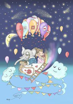 Nursery Art Print (Girl and Elephant in a hot air baloon) A4 Paper, Nursery Art, How To Draw Hands, Sci Fi, Elephant, Art Prints, Hot, Handmade Gifts, Anime