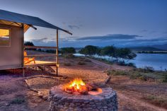AfriCamps Glamping at Klein Karoo, South Africa. Experience the traditional South African Braai right next to your own tent.