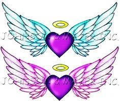 heart shaped angel wings tattoo | statement with our Angel Wings Tattoos. These two temporary
