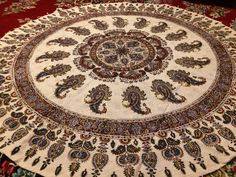 """Traditional Round Mandala Tablecloth, handmade 59"""" inches Tapestry art, Paisley Tablecloth with Tassels"""