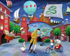"Saatchi Art Artist Iwona Lifsches; Painting, ""Ole Lukøje and Ulla  At Art Naif Festival,  SOLD"" #art"