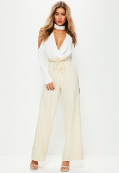 Missguided - Premium Cream Highwaisted Corset Wide Leg Trousers