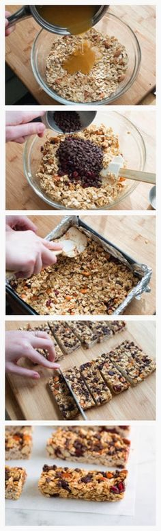 My favorite granola bars. I use peanuts if I don't have almonds. DO NOT let the honey mixture boil or the granola bars will be hard. Soft and Chewy Granola Bars Recipe Soft And Chewy Granola Bars Recipe, Homemade Granola Bars, Snacks Homemade, Diy Snacks, Best Granola Bars, Snacks Ideas, Healthy Bars, Healthy Treats, Healthy Granola Bars
