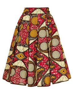 Chic High Waist Color Block Geometrical Print A-Line Skirt For WomenSkirts