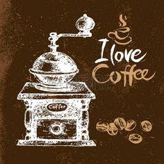 Disegnata a mano sfondo caff� d'epoca. Sketch illustrazione vettoriale. Menu design. Tipografiche manifesto photo