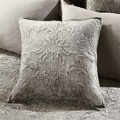 View the Roane Square Accent Pillow from Arhaus. An elegant tonal mix of velvet, linen and silk, the Roane Bedding Collection is perfect for layerin