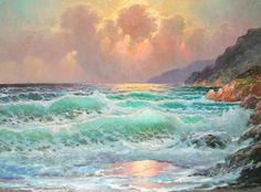 goldentide450h - Seascapes Paintings by Alexander Dzigurski  <3 <3