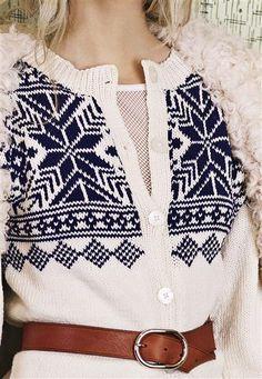 """Nr 9 """"Eirefjell"""" kofte pattern by Sandnes Design Fair Isle Pattern, Vintage Knitting, Ikon, Knitting Projects, Vintage Looks, Knit Crochet, Crochet Patterns, Men Sweater, Womens Knitwear"""
