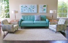 Mid century pink living room