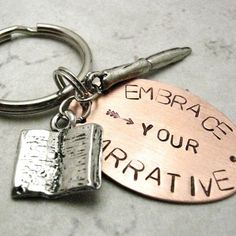 Embrace Your Narrative Key Chain Copper with book and pen charms and silver split ring, great gift for the journal fiend, blogger, writer