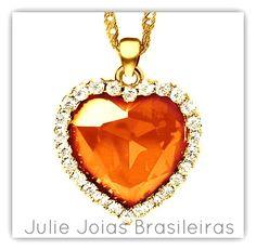 Pendente em ouro 750/18k, diamante e opala-de-fogo (750/18k gold pendant with diamond and fire opal)