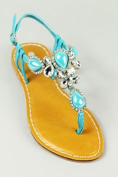 Turquoise stone and rhinestone sandals: - Clear rhinestones- Clear and turquoise stones