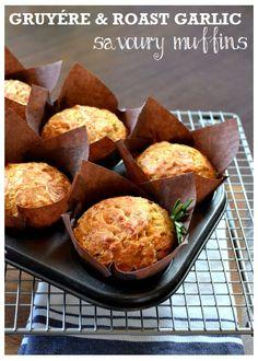 Gruyére & Roasted Garlic Savoury Muffins #vegetarian  http://www.thevegspace.co.uk/recipe-gruyere-roasted-garlic-savoury-muffins/