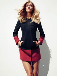 Black and wine color block coat. So cute!