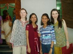 Two by two sisters.  Claire and Margaret Grant from Eire in India in 2005 with sisters whose names they have since forgotten and feel rather badly about...