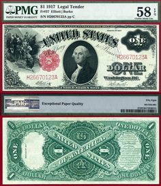 1917 $1 United States Note FR-37 PMG Graded GEM66EPQ Legal Tender Note Large Size Sawhorse PCGS Graded 1-7-2015 CAA PLALR