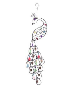 This Iron Beaded Peacock Patio Chime by Glitz Design is perfect! #zulilyfinds