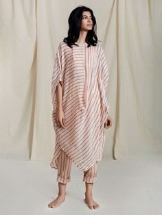 Peach Handloom Mulmul Striped Cowl Tunic with Short Slip Classy Work Outfits, Trendy Outfits, Girl Outfits, Fashion Pants, Fashion Dresses, Tandoori Masala, Fashion Vocabulary, Japan Fashion, Indian Designer Wear