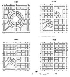The redevelopment of Circleville, Ohio 1837 – 1856 displays the gradual abandoning of the circular in favor of a square (grid) design. Villa Architecture, Architecture Concept Drawings, Cultural Architecture, Sustainable Architecture, Architecture Diagrams, Architecture Portfolio, Urban Design Concept, Urban Design Diagram, Urban Design Plan