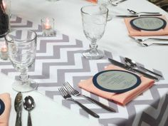 Rent grey chevron table runners.  Get The Look: Modern Chevron Wedding | Elite Events Rental