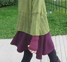 """Frostfern by Elizabeth McCarten in a worsted 10ply yarn and sized to fit 42"""" to 62"""" bustline. It is designed to have a lot of ease ... 10"""" plus....knit top-down and seamless with short rows"""