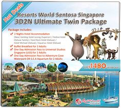Hot Deals! Resorts World Sentosa Singapore 3D2N Ultimate Twin Package - 2 Nights Hotel + Breakfast + Universal Studios Singapore + Adventure Cove Waterpark OR S.E.A Aquarium - HK$1480up/person. Details: http://www.asiatravelcare.com/mktg/20140501_Resorts_World_Sentosa_3D2NPckg-eng.htm
