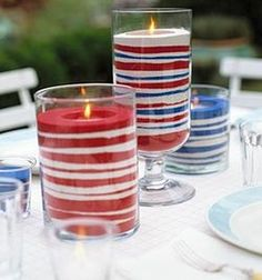 Fourth of July candles or any other occasion if you use different colored sand