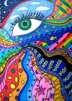 eye know   colorful art- great for middle school students by Maiden11976