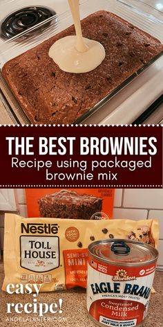 Crack Brownies, Best Brownies, Boxed Brownies, Easy Desserts, Delicious Desserts, Yummy Food, Homemade Desserts, Yummy Eats, Tasty