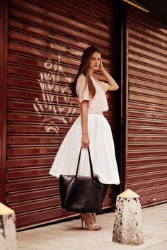 Midi Skirt, Womens Skirt, White Skirt, Fashion Skirt, High Waist Skirt, Knee Length Skirt, Flared Skirt, Loose Skirt, Retro Skirt
