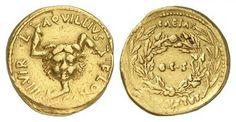 Roman Imperial. Augustus 27 B.C.-14 A.D. Aureus 8.20g Medusa or Gorgon head with triskeles