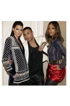 Olivier Rousteing poses with Kendall Jenner and Jourdan Dunn in the H&M x Balmain collection. Photo via Balmain. Kendall And Kylie, Kendall Jenner, Fashion News, Fashion Models, Fashion Events, Street Fashion, High Fashion, Women's Fashion, H&m Collaboration