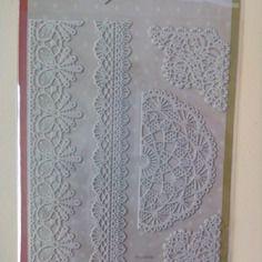 Planche de 5 stickers dentelles adhésives blanc cassé