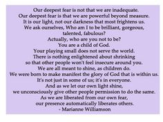 Fear Quote By Marianne Williamson   Flickr - Photo Sharing!
