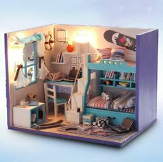Wooden Dollhouse Miniature DIY Display House with Light---Mini Bedroom New*