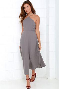 Grey Halter Midi Dress