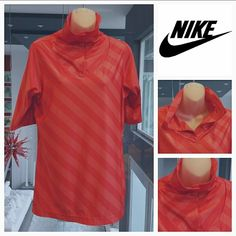 NikeGolf Dri-Fit sports womens top NikeGolf women's Dri-Fit striped top.  Cool snap up neck feature.  Good condition! Size large Colors are dark peach and salmon red (those colors make me hungry, lol)  Thank you for shopping my closet!! Nike Tops