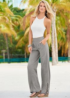 Light weight linen to love! Venus lace up detail linen pants with Venus strappy ribbed halter top and Venus embellished wedge.